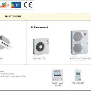 Aer Conditionat Mitsubishi Electric Inverter PLA-RP100BA+PUHZ-RP100VHA Caseta 34000 BTU