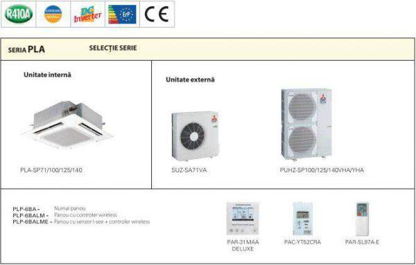 Aer Conditionat Mitsubishi Electric Inverter PLA-SP125BA+PUHZ-SP125VHA Caseta 44000 BTU