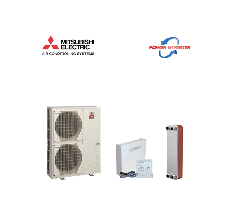 Pompa de Caldura Aer Apa Mitsubishi Electric Ecodan 8Kw PUHZ-SW75VHA+interfata PAC-IF061+schimbator de caldura V25THX40-splitat