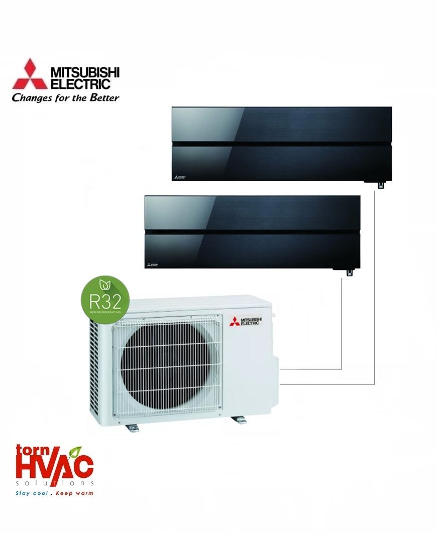 Aer conditionat Mitsubishi Electric Multisplit MXZ-2F53VF+MSZ-LN25VGB+MSZ-LN35VGB (1x9000 BTU+1x12000 BTU) R32 Negru
