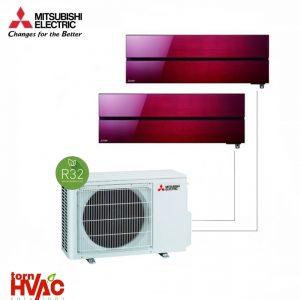 Aer conditionat Mitsubishi Electric Multisplit MXZ-2F53VF+MSZ-LN25VGR+MSZ-LN35VGR (1x9000 BTU+1x12000 BTU) R32 Rosu