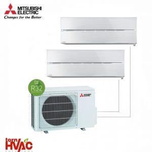 Aer conditionat Mitsubishi Electric Multisplit MXZ-2F53VF+MSZ-LN25VGV+MSZ-LN35VGV (1x9000 BTU+1x12000 BTU) R32 Alb perlat