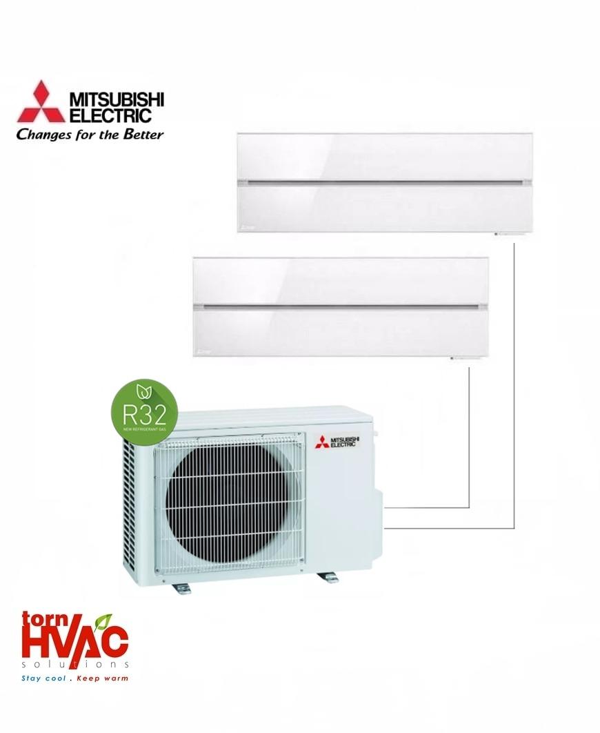 Aer conditionat Mitsubishi Electric Multisplit MXZ-2F53VF+MSZ-LN25VGW+MSZ-LN35VGW (1x9000 BTU+1x12000 BTU) R32 Alb.