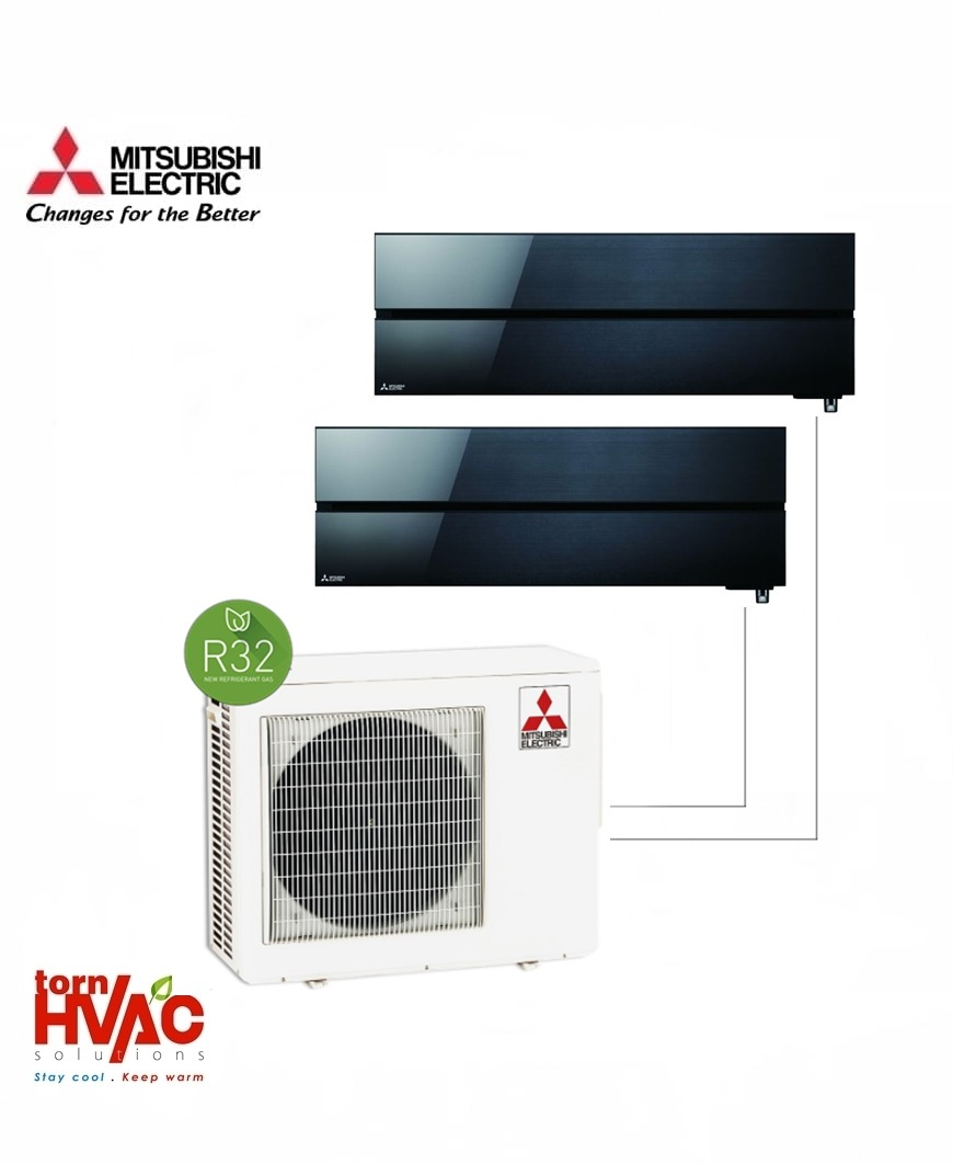 Aer conditionat Mitsubishi Electric Multisplit MXZ-3F68VF+2xMSZ-LN35VGB (2x12000 BTU) R32 Negru