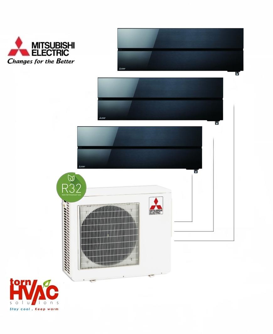 Aer conditionat Mitsubishi Electric Multisplit MXZ-3F68VF+3xMSZ-LN25VGB (3x9000 BTU) R32 Negru