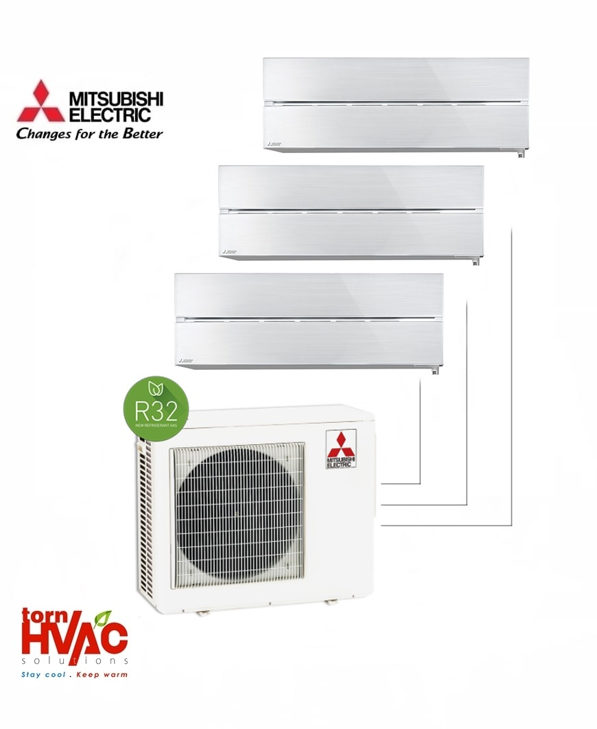 Aer conditionat Mitsubishi Electric Multisplit MXZ-4F72VF+2xMSZ-LN25VGV+MSZ-LN35VGV (2x9000 BTU+1x12000 BTU) R32 Alb perlat