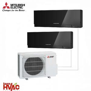 Aer conditionat Mitsubishi Electric Multisplit MXZ-2D42VA+2xMSZ-EF25VEB (2x9000 BTU) Kirigamine Zen Negru