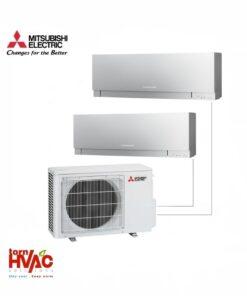Aer conditionat Mitsubishi Electric Multisplit MXZ-2D42VA+2xMSZ-EF25VES (2x9000 BTU) Kirigamine Zen Argintiu