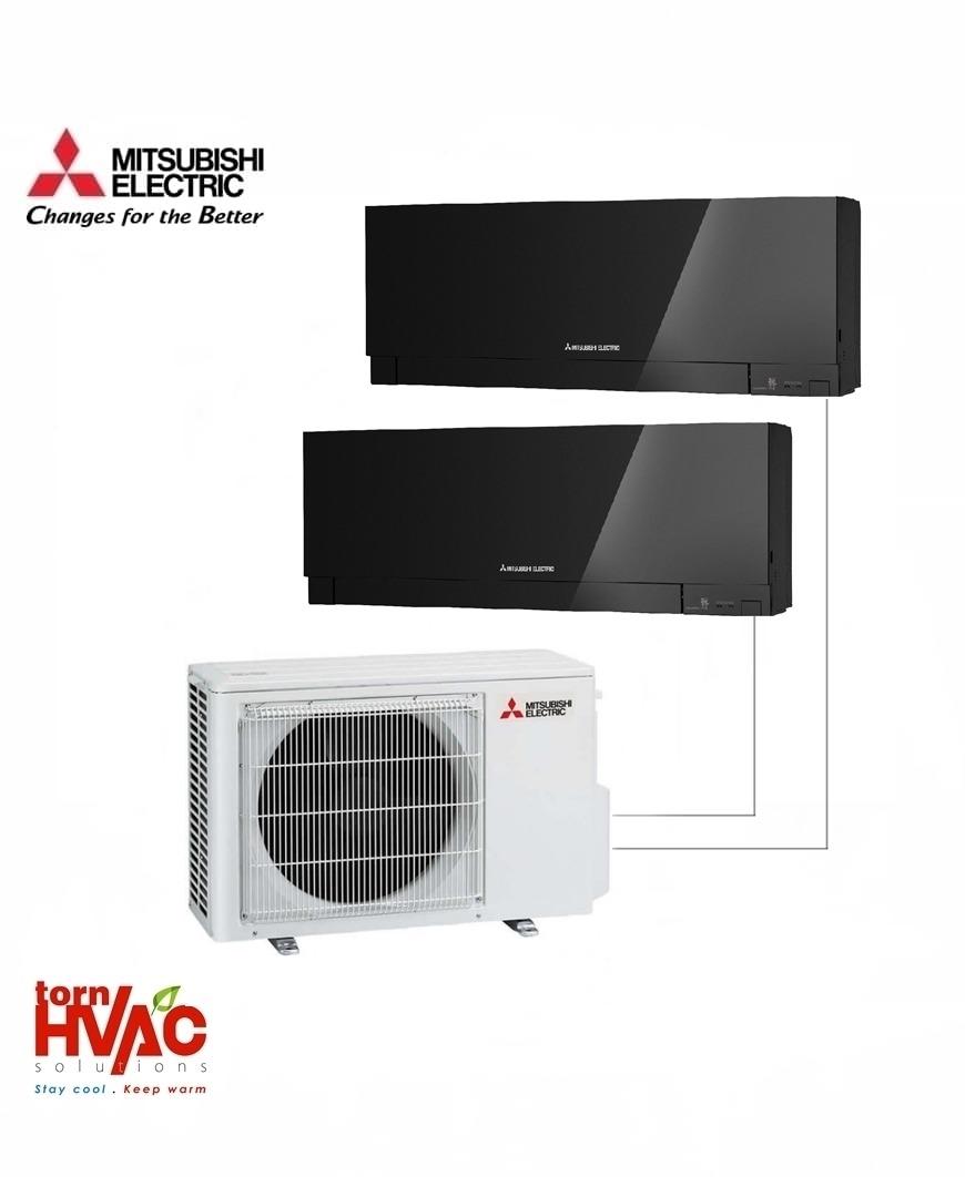 Aer conditionat Mitsubishi Electric Multisplit MXZ-2D53VA+MSZ-EF25VEB+MSZ-EF35VEB (1x9000 BTU+1x12000 BTU) Kirigamine Zen Negru