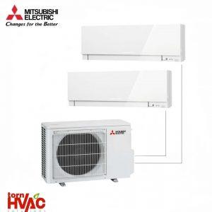 Aer conditionat Mitsubishi Electric Multisplit MXZ-2D53VA+MSZ-EF25VEW+MSZ-EF35VEW (1x9000 BTU+1x12000 BTU) Kirigamine Zen Alb