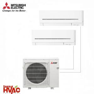 Aer conditionat Mitsubishi Electric Multisplit MXZ-2E53VAHZ+MSZ-AP25VG+MSZ-AP35VG (1x9000 BTU+1x12000 BTU) - incalzire 100% la -15 °C