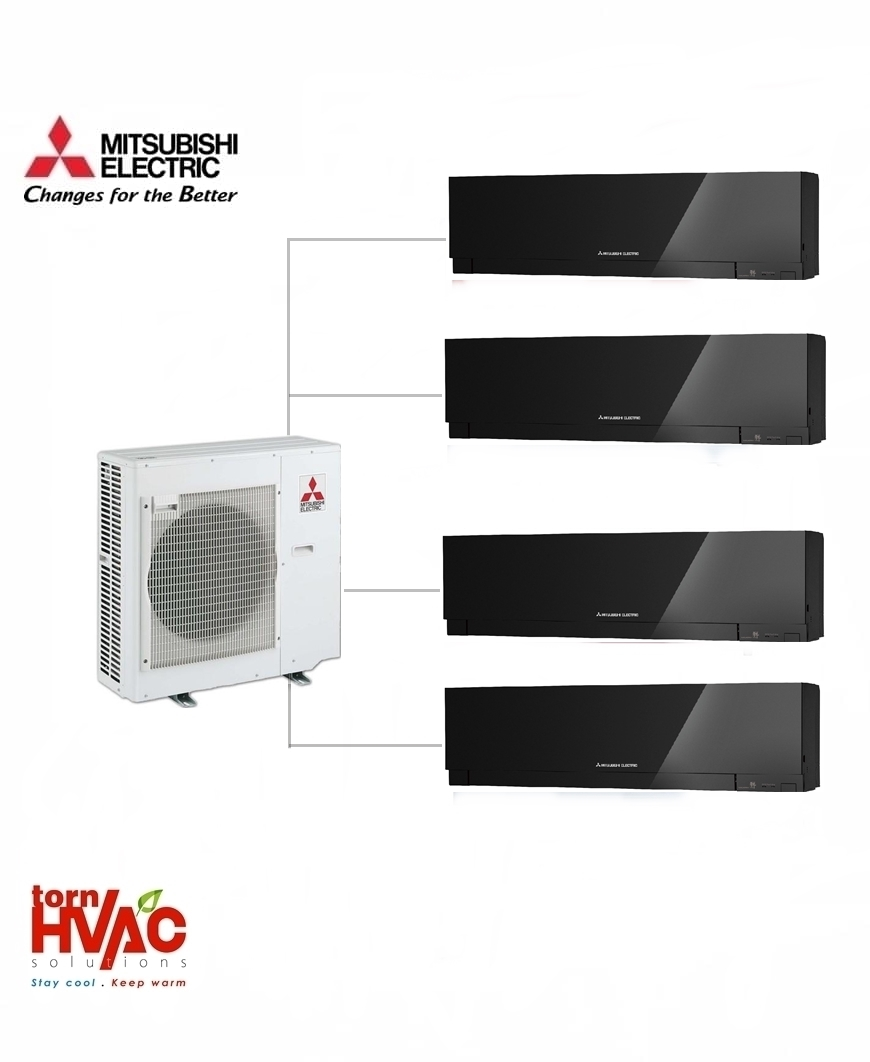 Aer conditionat Mitsubishi Electric Multisplit MXZ-4E83VA+4xMSZ-EF25VEB (4x9000 BTU) Kirigamine Zen Negru