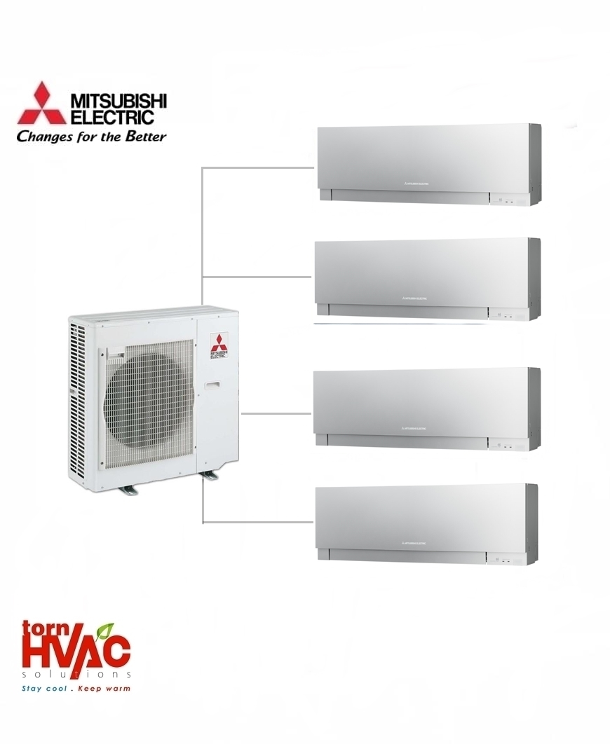 Aer conditionat Mitsubishi Electric Multisplit MXZ-5E102VA+3xMSZ-EF25VES+MSZ-EF35VES (3x9000 BTU+1x12000 BTU) Kirigamine Zen Argintiu