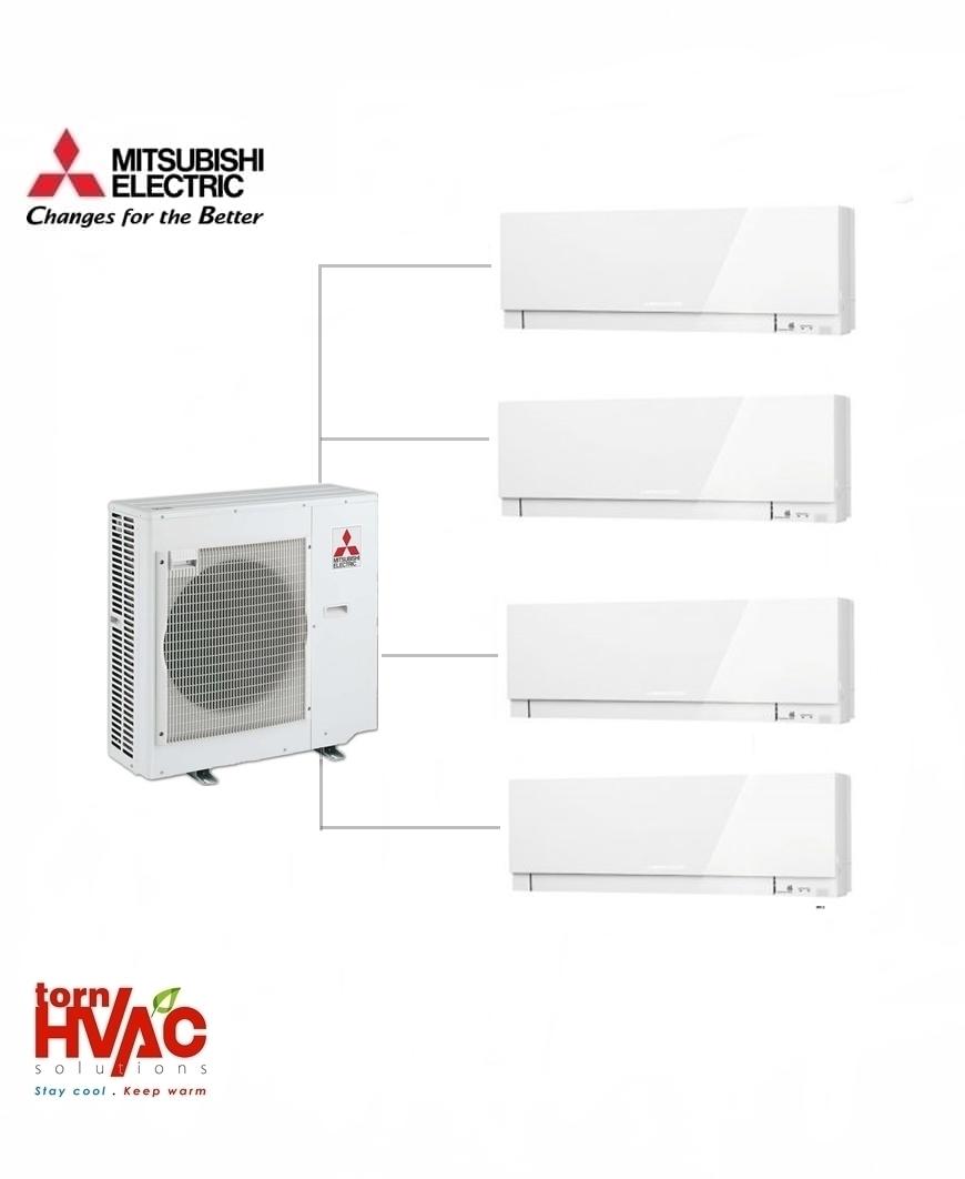 Aer conditionat Mitsubishi Electric Multisplit MXZ-5E102VA+3xMSZ-EF25VEW+MSZ-EF35VEW (3x9000 BTU+1x12000 BTU) Kirigamine Zen Alb