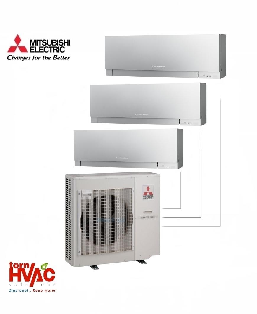 Aer conditionat Mitsubishi Electric Multisplit MXZ-5E102VA+3xMSZ-EF35VES (3x12000 BTU) Kirigamine Zen Argintiu