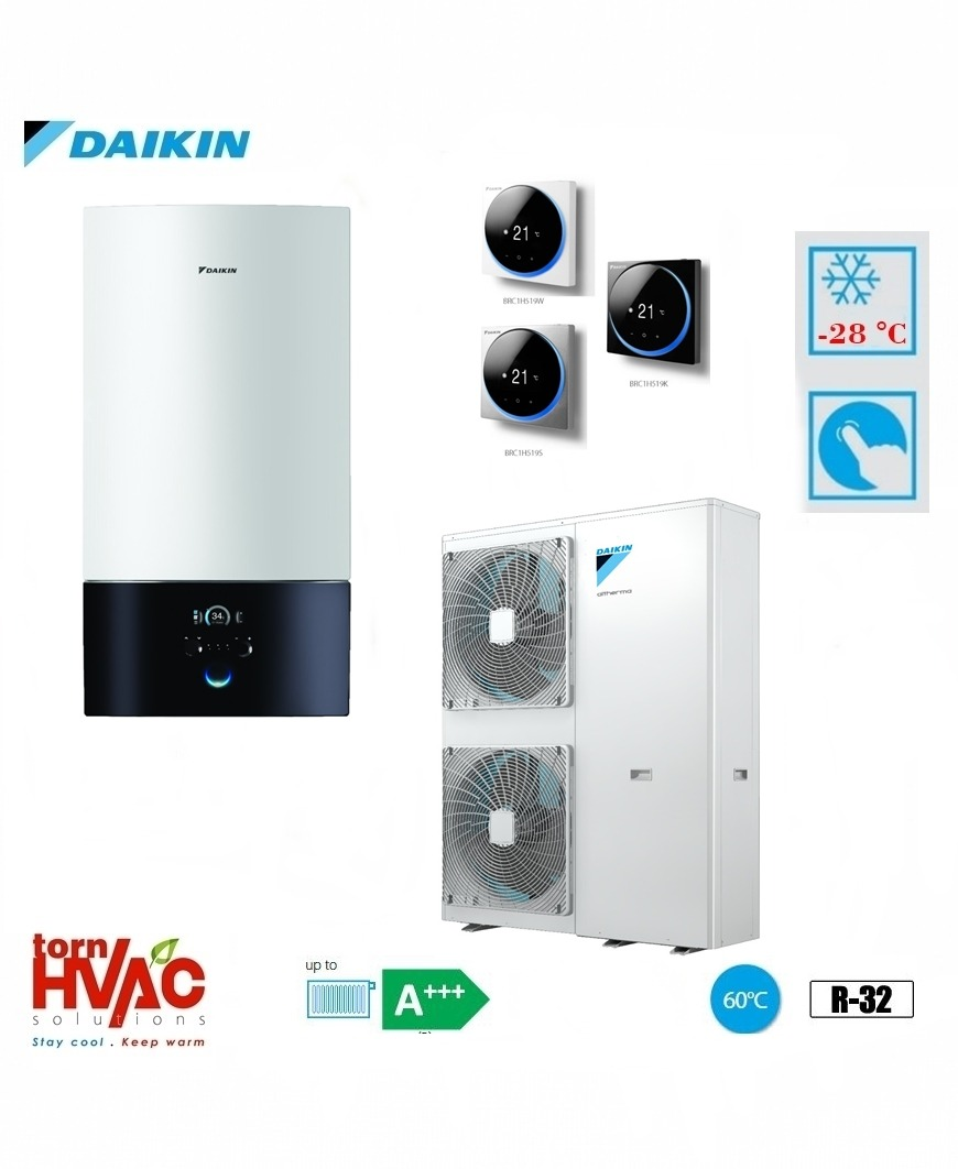 Pompa de caldura aer-apa Daikin Altherma 3 EABX16D6V+EPGA16DV 16 kW hydrobox Alb R32 -28 grade Celsius