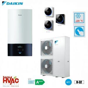 Pompa de caldura aer-apa Daikin Altherma 3 EABX16D9W+EPGA16DV 16 kW hydrobox Alb R32 -28 grade Celsius