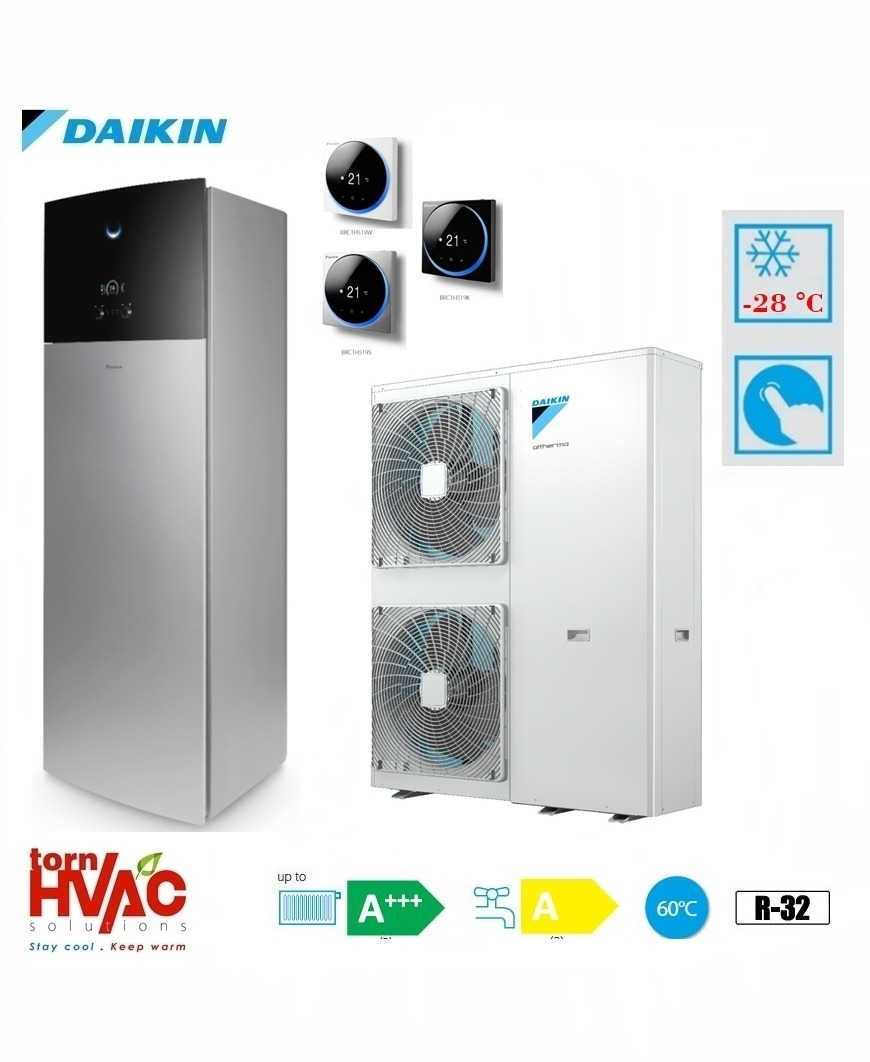 Pompa de caldura aer-apa Daikin Altherma 3 EAVX16S18D6VG+EPGA16DV 16 kW hydrotank Gri argintiu R32 -28 grade Celsius