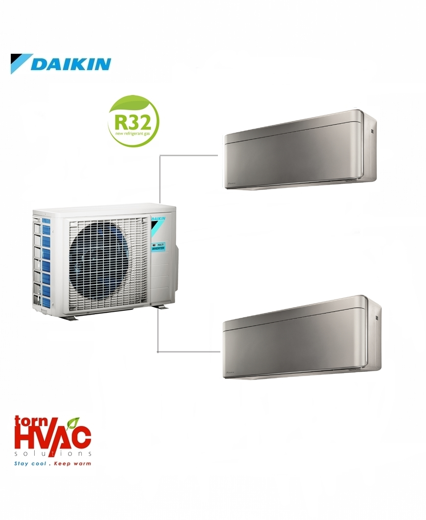 Aer conditionat Daikin Multisplit Stylish 2MXM50M9+2xFTXA25AS (2×9000 BTU) R32 Argintiu cu negru